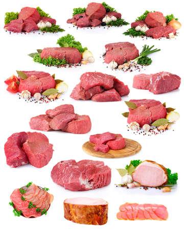 carne cruda: colección fresca la carne cruda aislado en blanco