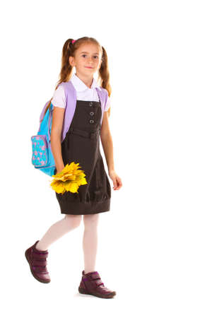 Portrait of beautiful little girl in school uniform with backpack and autumn leaves Isolated on white Stock Photo - 11035086