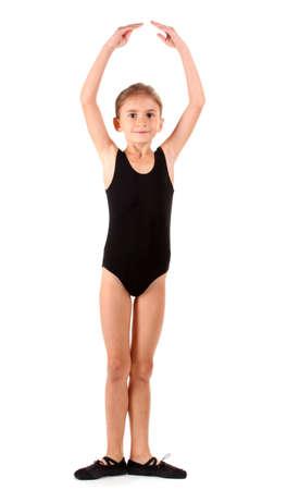 'ballet girl': little girl ballerina, isolated on white