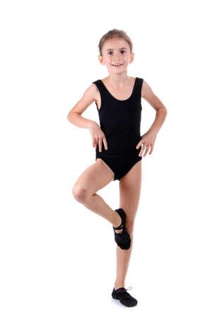 little girl dancing: little girl ballerina, isolated on white