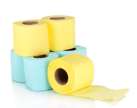soft tissue: rolls of toilet paper isolated on white