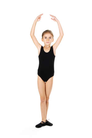 little girl ballerina, isolated on white photo