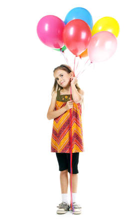 beautiful little girl and bright balloons isolated on white Stock Photo - 11122474