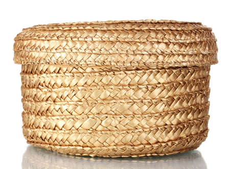handicrafts: decorative empty wicker basket with lid isolated on white