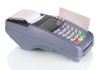 debit: bank terminal and credit card  isolated on white