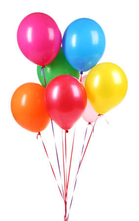 globos de cumplea�os: globos brillantes aislados en blanco