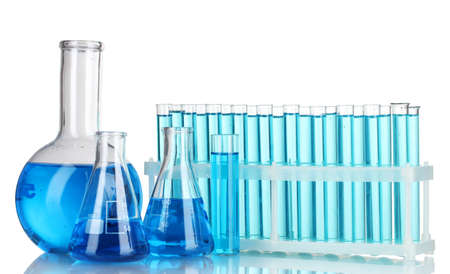 Test-tubes with blue liquid isolated on white Stock Photo