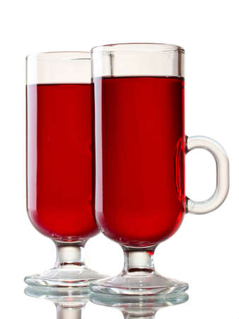 mulled wine in the glasses isolated on white photo