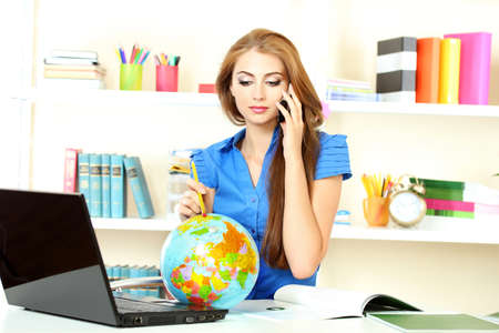 beautiful young girl in the office Stock Photo - 11287599
