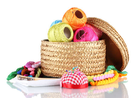 bright threads for needlework and fabric in a wicker basket photo