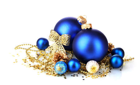 beautiful blue Christmas balls and cones isolated on white photo