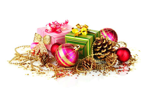beautiful bright Christmas balls, gifts and cones isolated on white photo