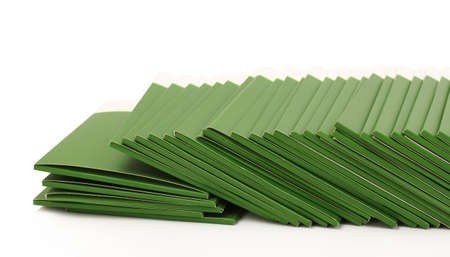 Many green folders isolated on white Stock Photo - 11337986