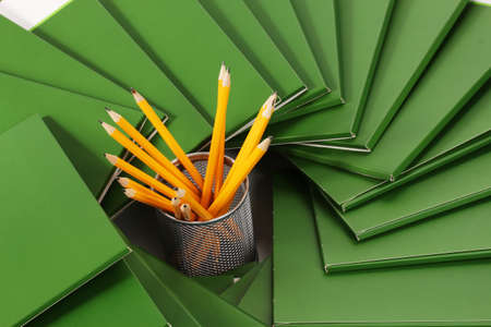 Many green folders closeup photo