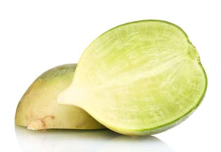 dikon: r�banos en rodajas verde aislado en blanco