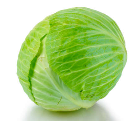 whole green cabbage isolated on white photo
