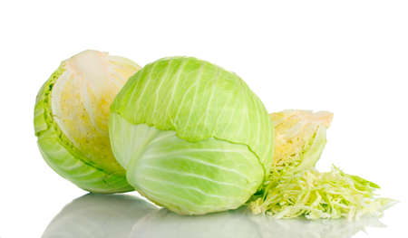 savoy cabbage: sliced green cabbage isolated on white
