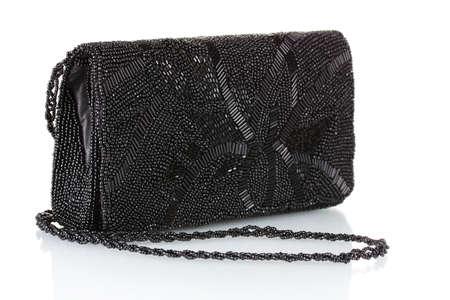 gestickt: Schwarz Kupplung mit Perlen isoliert auf wei� gestickt