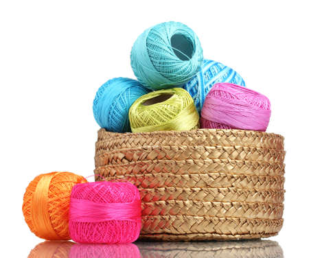 Bright threads for knitting in the basket isolated on white photo
