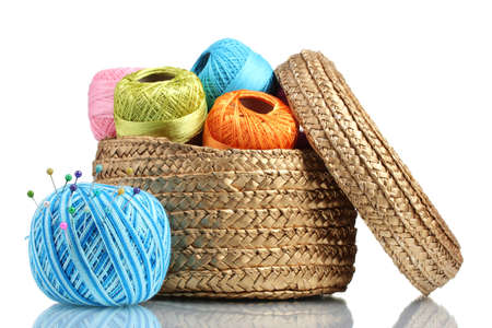 thread count: Bright threads for knitting in the basket isolated on white Stock Photo