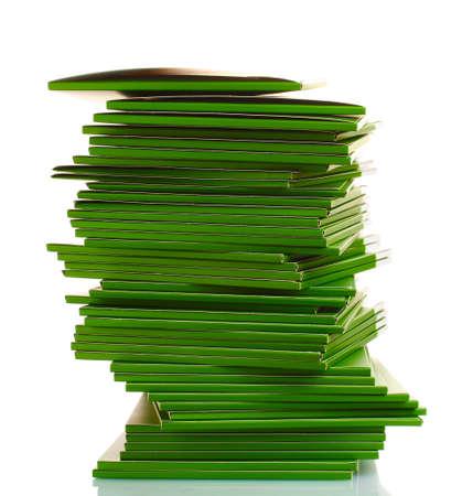 Many green folders isolated on white Stock Photo - 11493195