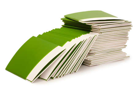 Many green folders isolated on white Stock Photo - 11490204