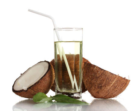 Coconut juice and coconut isolated on white photo