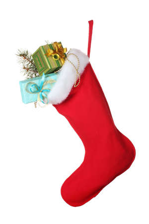 christmas sock: Christmas sock with gifts isolated on white