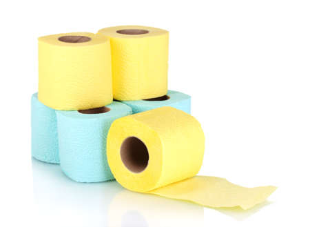rolls of toilet paper isolated on white photo