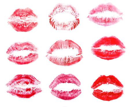 beso labios: Colección de los labios aislados en blanco Foto de archivo