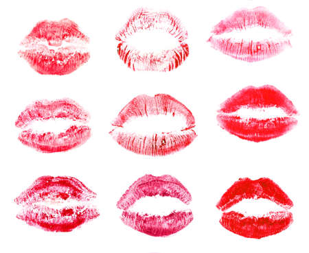 full lips: Collection of lips isolated on white