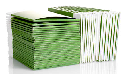 Many green folders isolated on white Stock Photo - 11636078