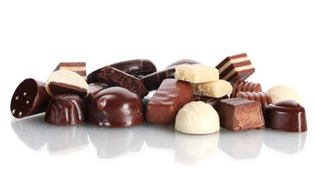 Many different chocolate candy isolated on white Stock Photo - 11637489