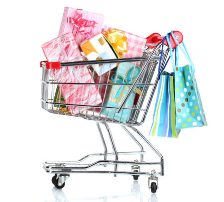anniversary sale: shopping cart with bright gifts and paper bags isolated on white
