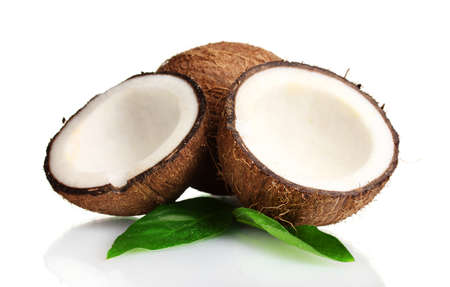 with coconut: Fresh coconut isolated on white Stock Photo