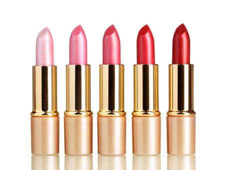 red lipstick: beautiful lipsticks isolated on white