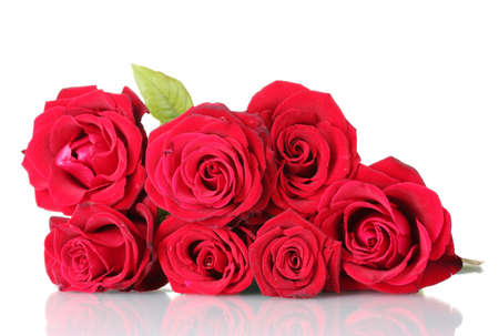 large group of objects: beautiful bouquet of red roses isolated on white