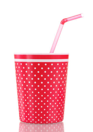 red glass with a straw isolated on white Stock Photo - 11715439