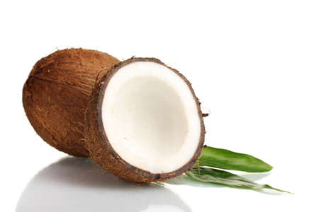 nut shell: Fresh coconut isolated on white Stock Photo