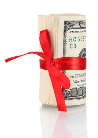 a lot of one hundred dollar bills tied red ribbon isolated on