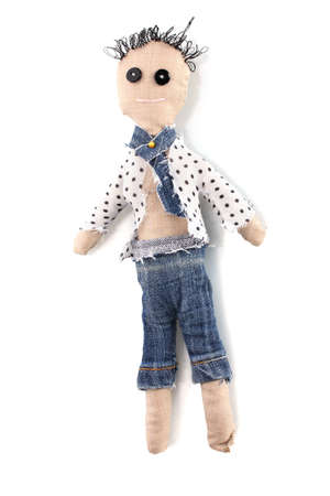 Voodoo doll boy isolated on white photo