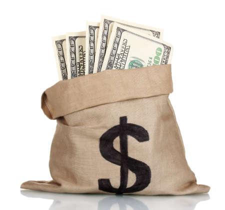 Viele hundert Dollar-Scheine in einer Tasche auf weiß isoliert