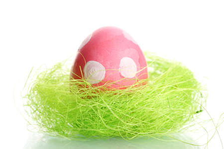 Pink Easter Egg with white point in little bird nest  isolated on white photo
