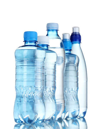 mineral water: Group plastic bottles of water isolated on white Stock Photo