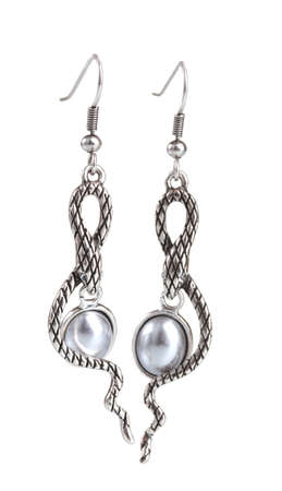 beautiful silver earrings with pearls isolated on white photo
