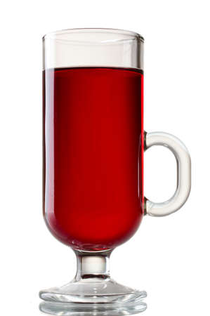 mulled wine in the glass isolated on white photo