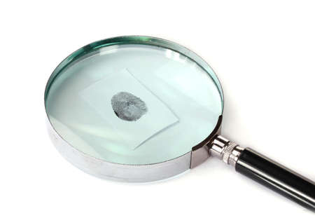Magnifying glass and fingerprint isolated on white photo