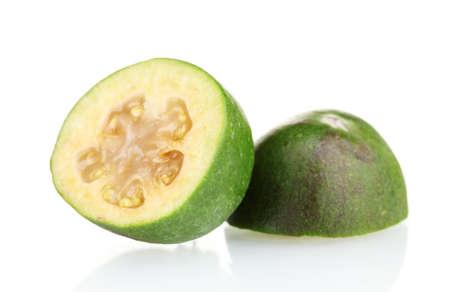 feijoa: slsed feijoa fruit, isolated on white