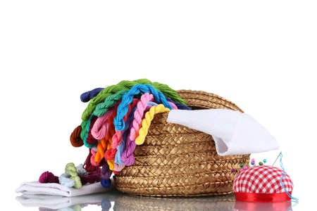 thread count: bright threads for needlework and fabric in a wicker basket