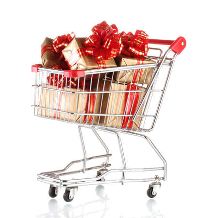 beautiful golden gifts with red ribbon in shopping cart isolated on white Stock Photo - 11901969